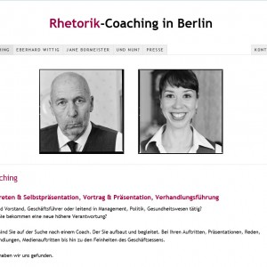 Rhetorik Coaching in Berlin der Rhetorik-Coaches Jane Bormeister und Eberhard Wittig